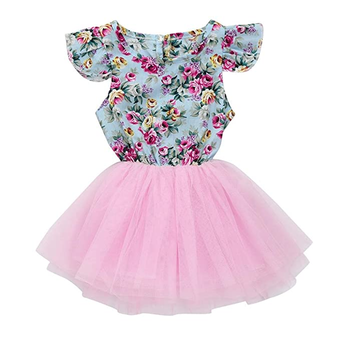 7f0f6b13d4 Franterd Floral Dress for Baby Girl Toddler Kids Summer Patchwork Pageant Party  Princess Tutu Fancy Dress