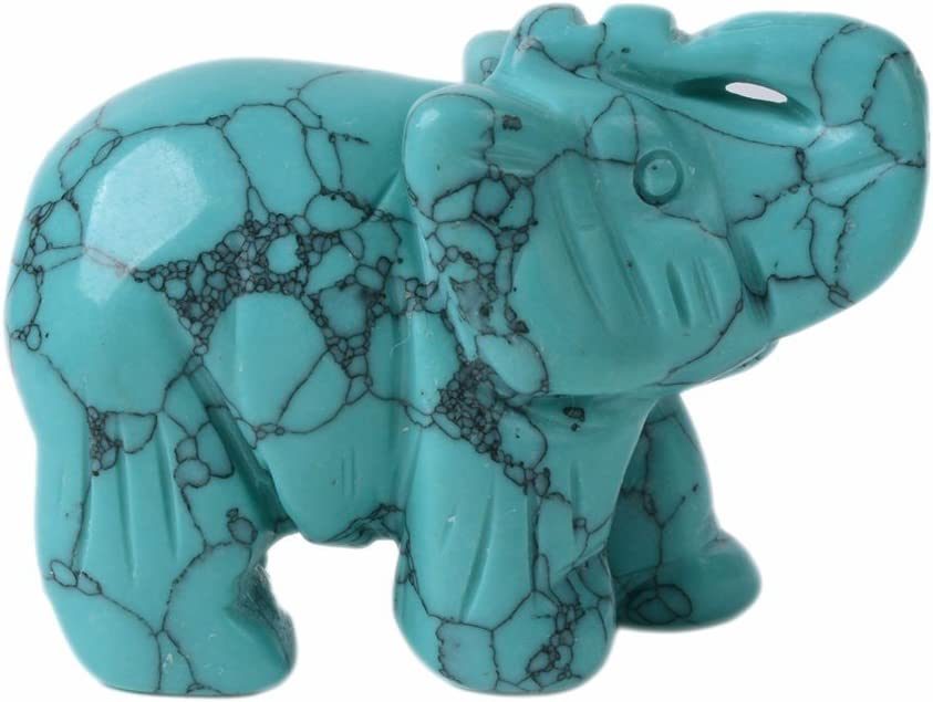 """1.5/"""" Elephant Figurine Blue Howlite Turquoise Healing Stone Carving Statue Gift"""