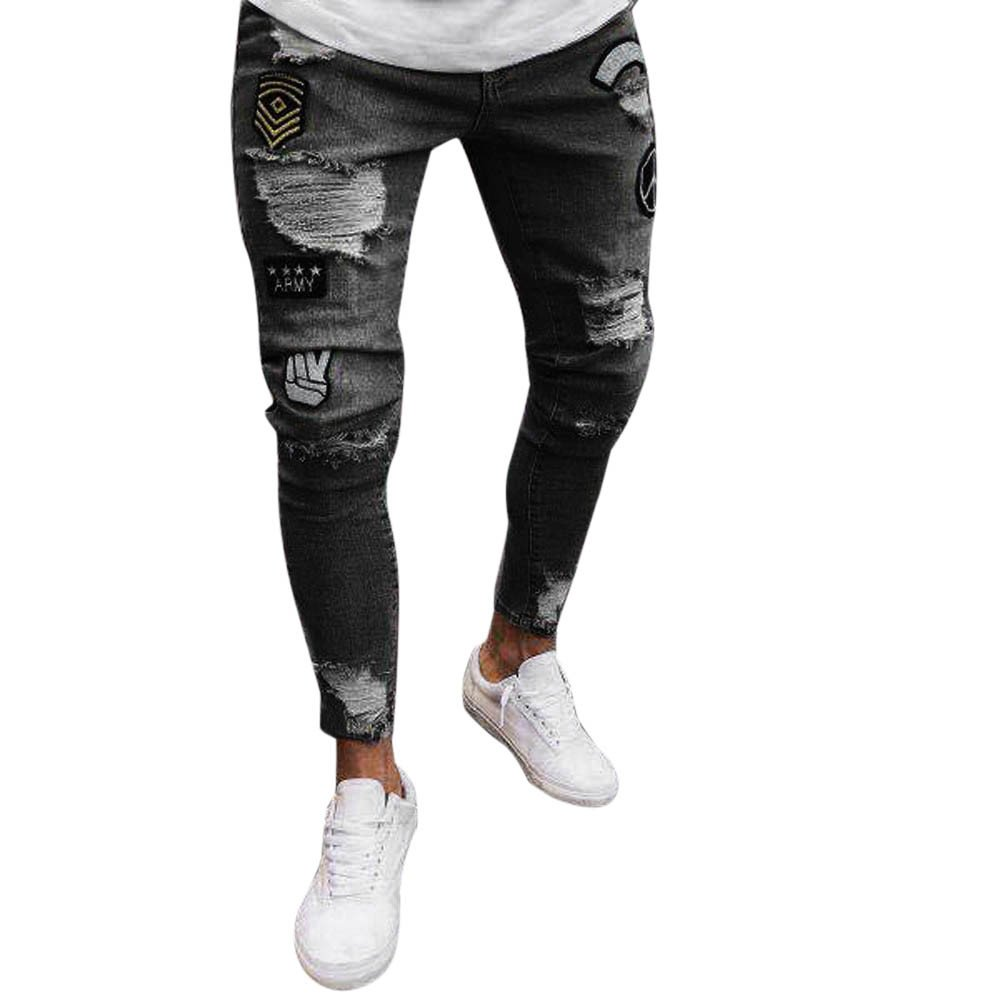Emerayo Men's Jeans Men's Slim Stretch Ripped Trousers Skinny Frayed Pants with Badge Patch