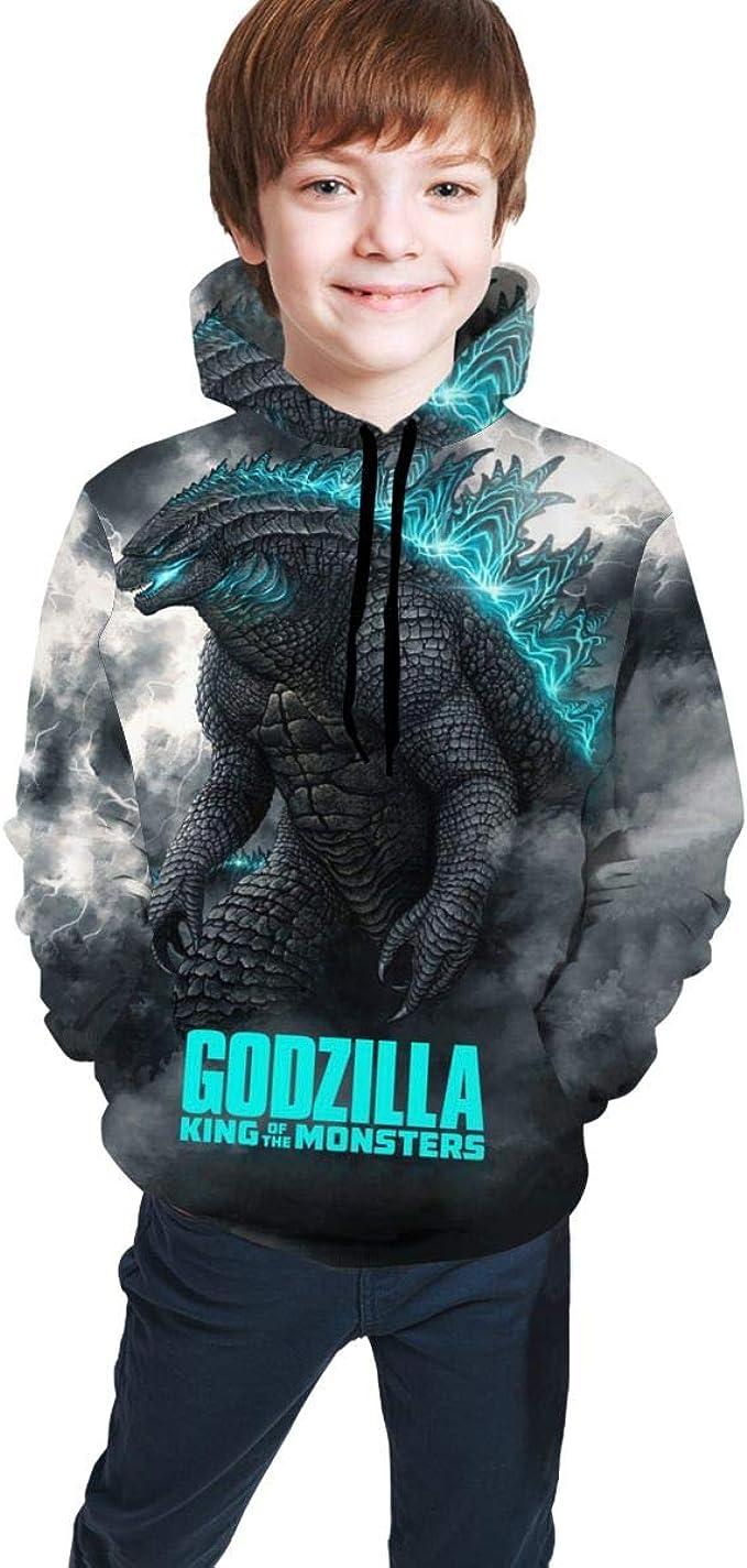 Sweat /à capuche avec imprim/é Godzilla 3D et manches longues pour enfant