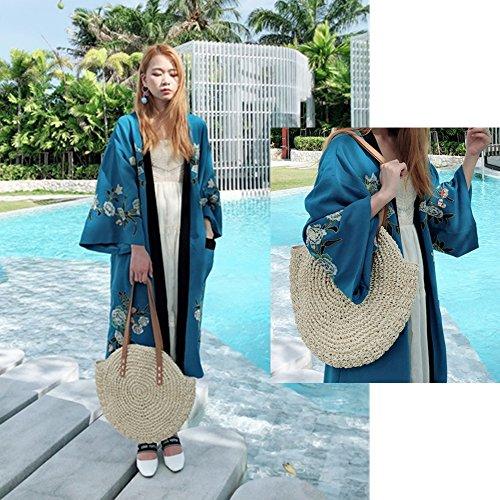 sac sac tout pour double de à à usage paille Beige plage poignée sac main femmes Top fourre les bandoulière d'été sacs wTBFHZZ