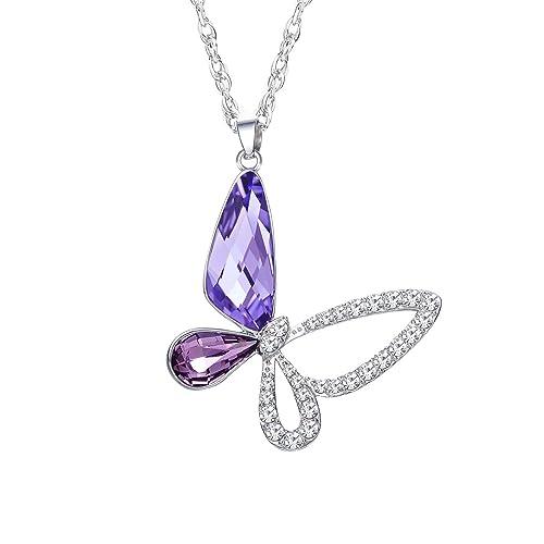 STAR SANDS - Papillon Pendentif Collier Pour Femme Avec Cristaux en  Swarovski - Chaîne en acier 5234cf5f10b5