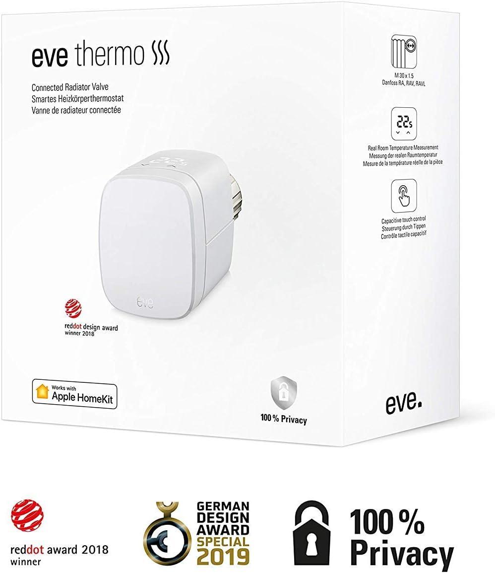 Apple HomeKit integriertes Touch-Bedienfeld - Smartes Heizk/örperthermostat mit LED-Display Eve Thermo 2-Pack keine Bridge erforderlich Bluetooth Low Energy automatischer Temperatursteuerung