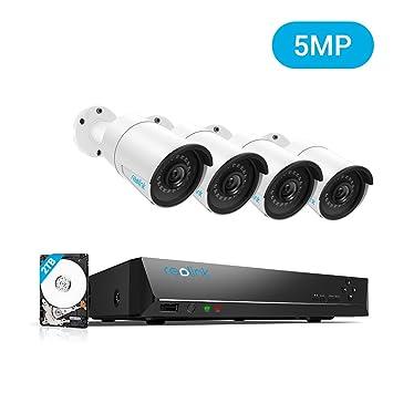Reolink Sistema de cámara de seguridad con 8CH 5MP resolución PoE impermeable y blindada con 4