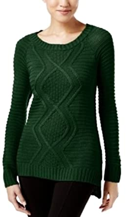 Ny Collection Cable Knit Sweater Pinegrove Large Green At Amazon