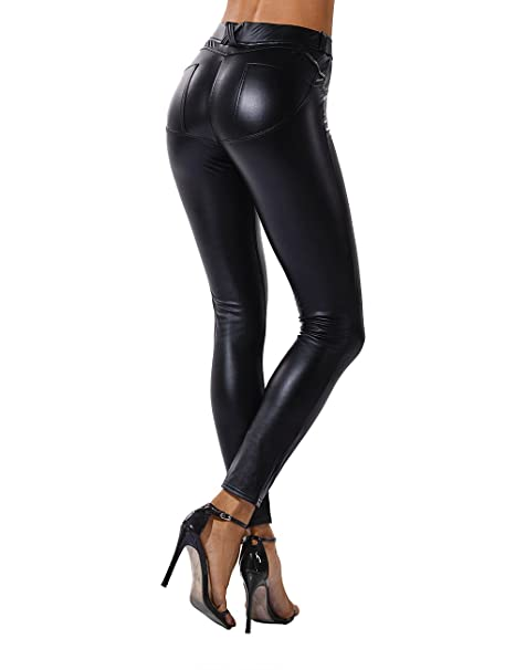b72f7638aabdf FITTOO Women Sexy Push Up Faux Leather Pants Stylish Skinny Slim Fit  Leggings: Amazon.co.uk: Sports & Outdoors