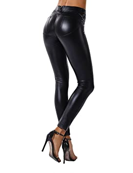 261945f760478e FITTOO Women Sexy Push Up Faux Leather Pants Stylish Skinny Slim Fit  Leggings