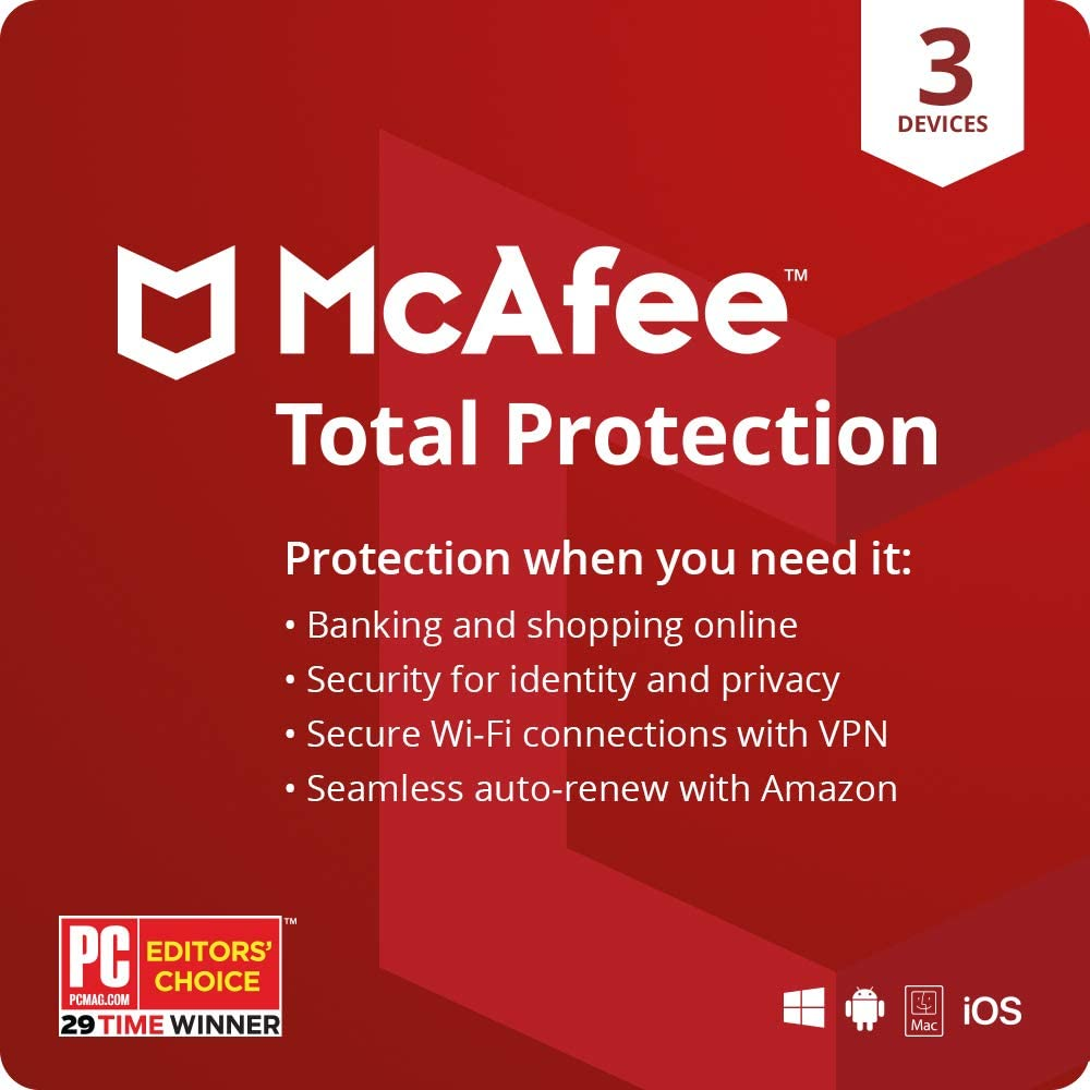 McAfee Total Protection 2020,3 Device, Antivirus Internet Security Software, VPN, Password Manager, Privacy, 1 Month with Auto Renewal - Amazon Exclusive Subscription