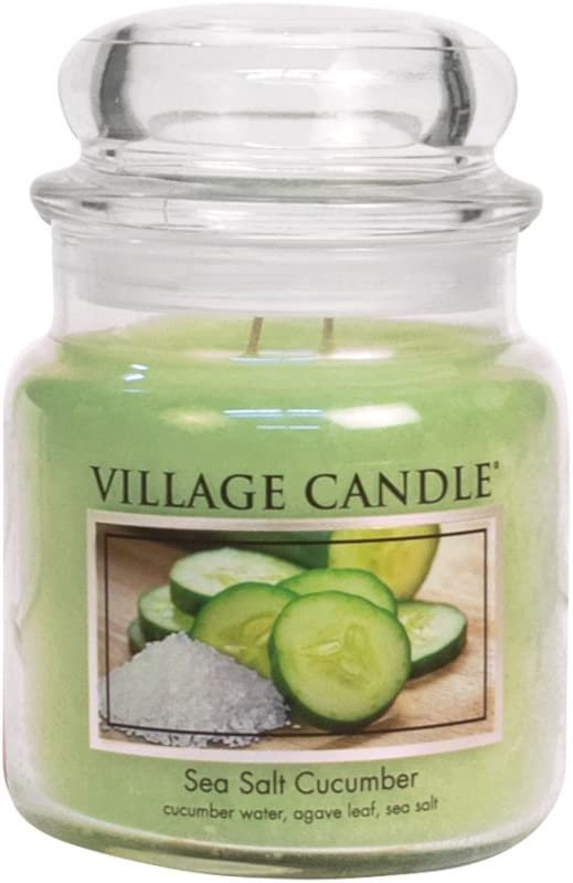 Village Candle Sea Free Shipping New Salt Max 81% OFF Cucumber oz 16 Glass Jar Scented