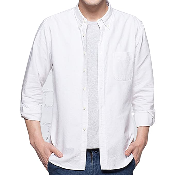 e711ea7cfb2 ERZTIAY Men s Casual Slim Fit Button Down Dress Shirt Long Sleeve Solid Oxford  Shirt (White