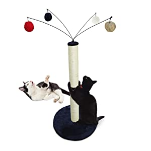 Furhaven Pet Cat Furniture - Tiger Tough Fuzz Ball Hanging Toy Cat Scratcher Post Entertainment Cat Tree Playground for Cats and Kittens, Blue