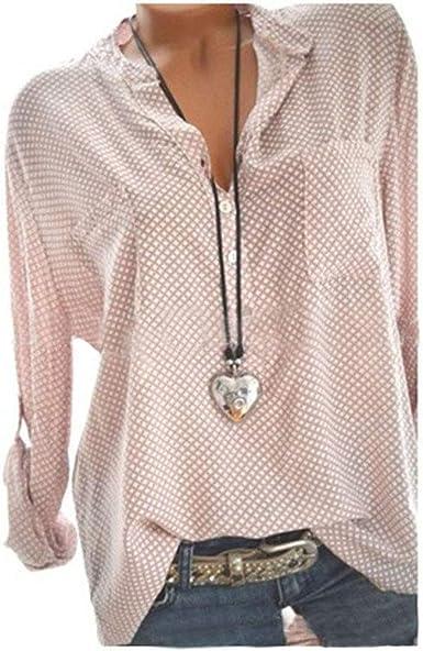Blusa De Verano Tallas Grandes Blusa para Mujer Moda Tamaños Cómodos Básica Elegante Camisa Casual Chica De Verano Elegante Festivo De Manga Larga con Cuello En V Camisa De Puntos Tops: Amazon.es: