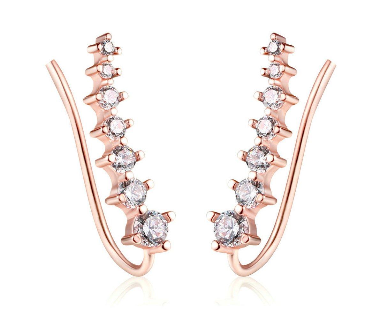 Women Jewelry 7-Stars Alloy CZ Diamond Stud Earrings Long Ear Pins Cuff Vine Crawlers Wrap Hoop Earring (rose gold)