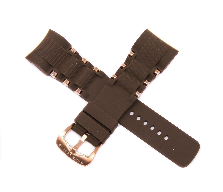 スイス凡例26 mmブラウンシリコン腕時計ストラップステンレスローズゴールドバックルフィット47 mm Commander Pro Watch  B07CHWPZX2