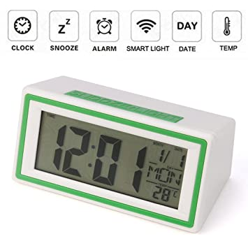 STRIR Reloj despertador digital,Snooze / Light LCD Digital Backlight Alarm Clock,Tiempo de soporte, calendario, termómetro (Verde): Amazon.es: Hogar