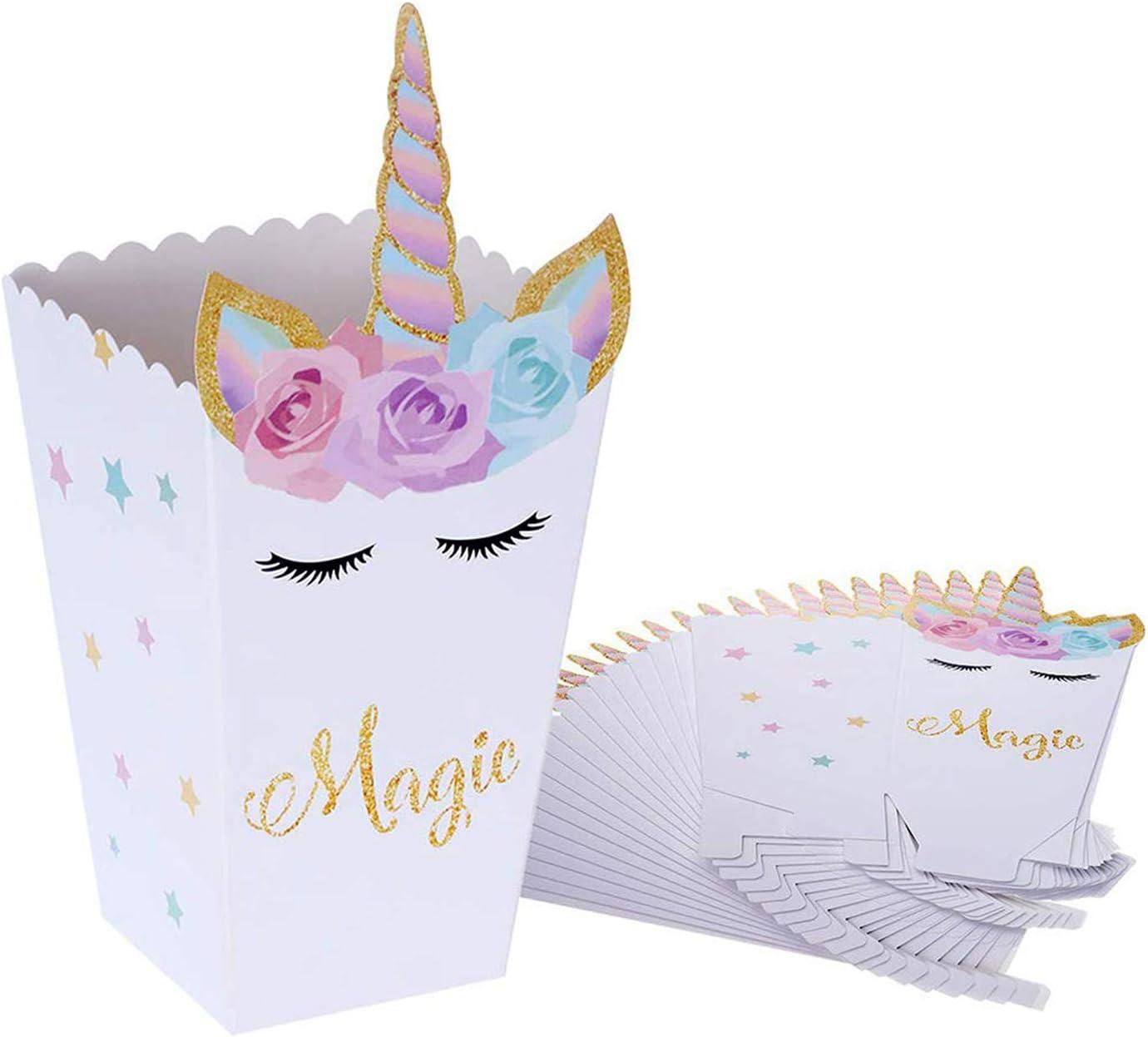 Cajas de Palomitas de Maíz,Unicornio Palomitas de Maíz Caja de Bocadillos, Envases de Caramelos de Cartón, Bolsas de Fiesta, Contenedores para el Regalo de Boda de Cumpleaños(24 Piezas): Amazon.es: Juguetes y juegos