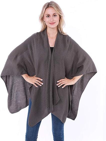Ladies Poncho Cape Knitted Shawl New Womens One Size Wrap Stylish Cardigan