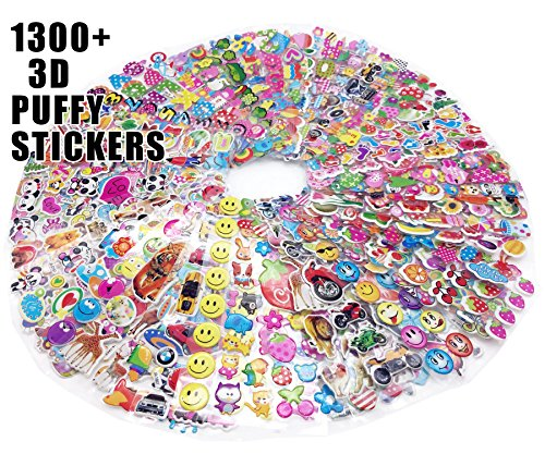 3D Puffy 1300+ Sticker Mega Variety Pack, 55 Different Sheet