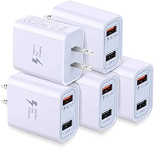 Wall Charger with USB Ports, Costyle 5 Pack 30W 2 Ports Quick Charge QC 3.0 & 5V 2.4A Adaptive Fast Charging Block Compatible for Samsung Galaxy S9 S8, iPhone Xs 8 7 Plus, Pixel 3 2 XL, Nexus (White)