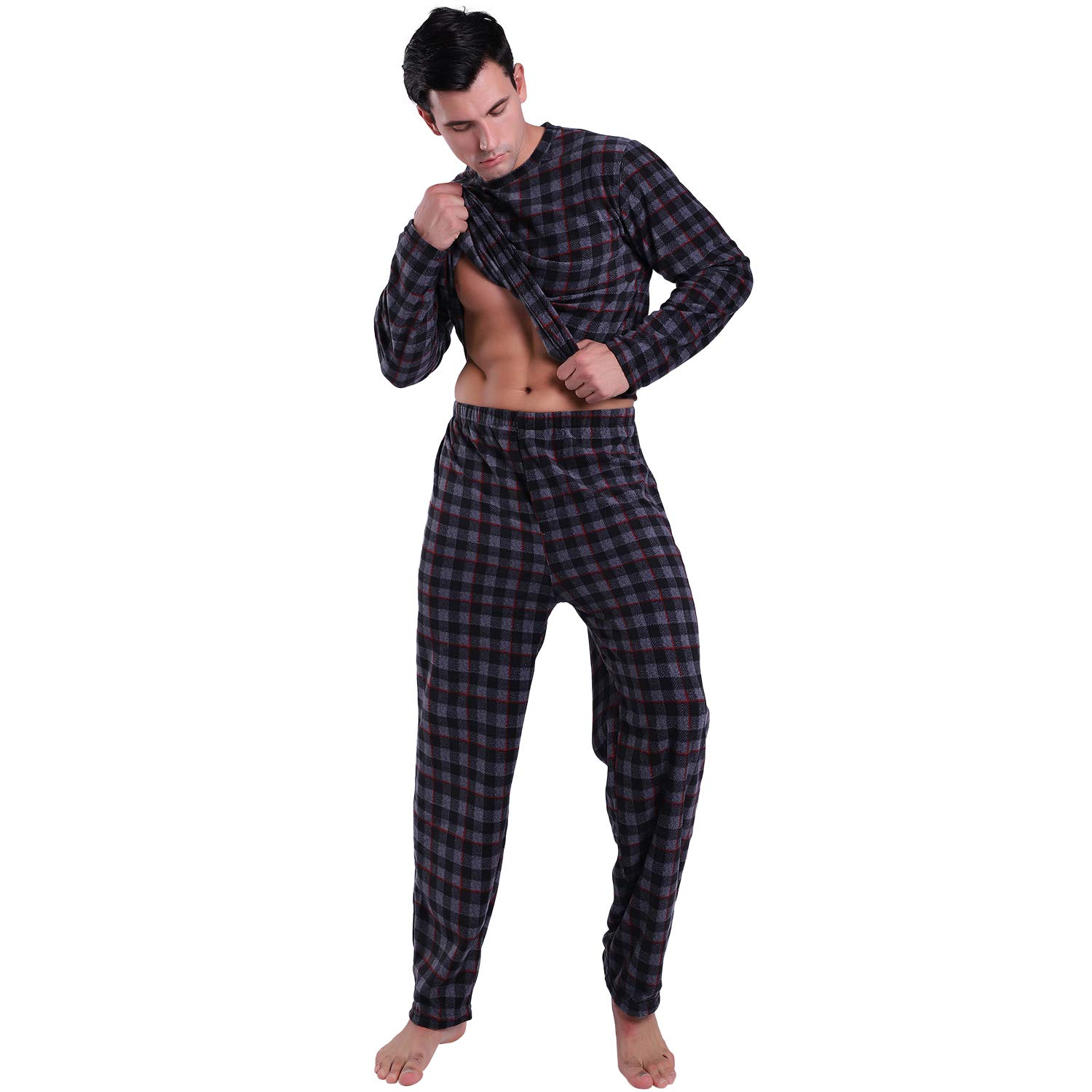 KEMUSI Pajama Set for Mens with Pullover Long Sleeve,Elastic Waistband,Full Length,Soft Flannel Lightweight PJs