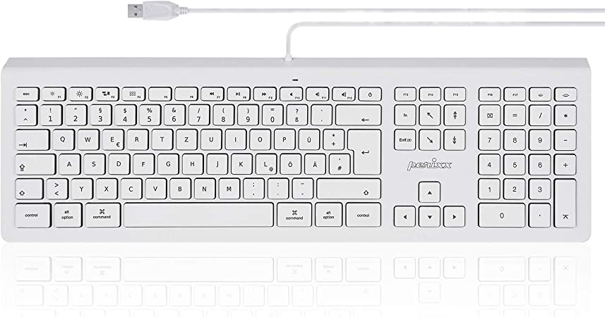 Perixx de 323 Teclado para Apple Mac Pro, MacBook Pro/Air, iMac, Mac Mini – Blanco Iluminado – Disposición QWERTZ Alemán