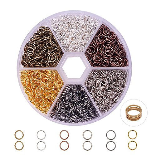 Amyove 5mm 6 Colors Mixed Open Jump Rings Set for Jewelry Making models:5mm; 6 color combinations (Ring 5mm Open)