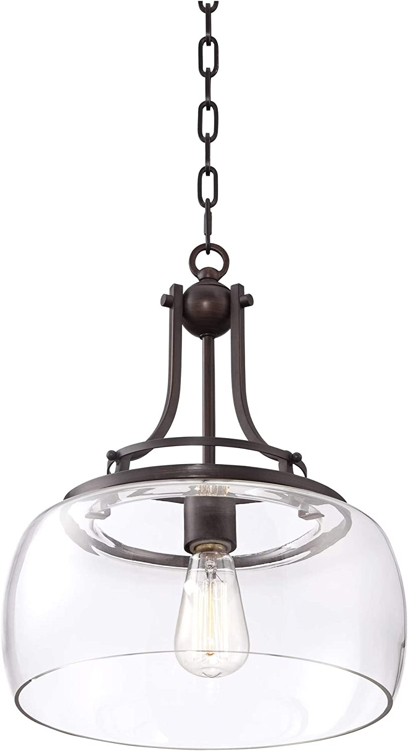 """Charleston Bronze Pendant Light 13 1/2\"""" Wide Industrial Rustic Clear Glass Fixture for Kitchen Island Dining Room - Franklin Iron Works 61tIh8fGLgLSL1500_"""