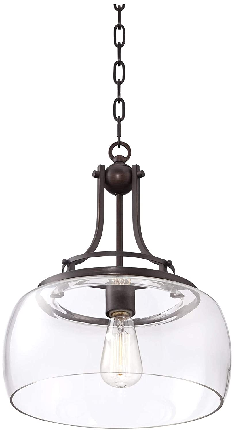 Franklin Iron Works Charleston 13 1//2 Wide Clear Glass and Bronze Pendant Light