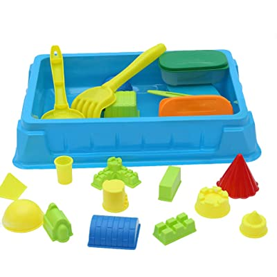 Pratcgoods 22PCs Kids Beach Toys Set Molds Tools Sandbox Toys On Summer Beach Sand and Water Table Play Sand Tool: Home & Kitchen