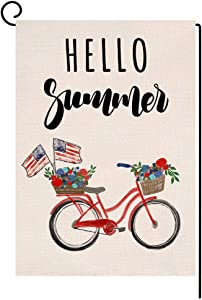 BLKWHT Summer Bicycle Floral Garden Flag 4th of July Vertical Double Sided Patriotic Bike Burlap Yard Outdoor Decor 12.5 x 18 Inches A2167