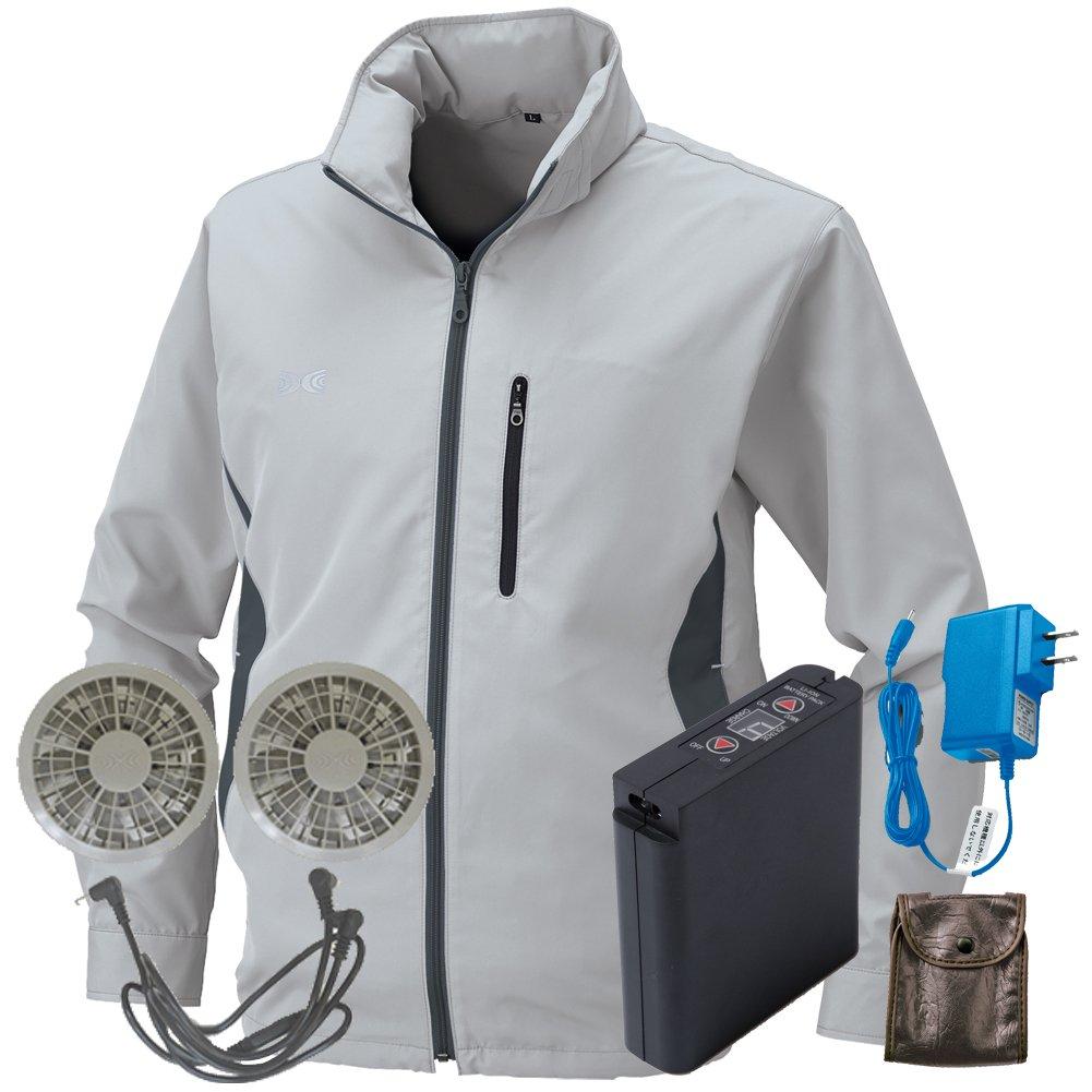 空調服 セット[KU90520ブルゾン+FAN2200グレーファン+LI-ULTRAIリチウムバッテリー] B077XVSXYP L|6 シルバー 6 シルバー L