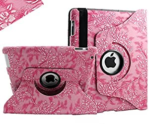 SANOXY¨ 360 Degrees Rotating Stand (Pink Flower) Luxury Leather Case for Apple iPad 2 with Smart Cover Wake/Sleep Function (Retail Packaging)