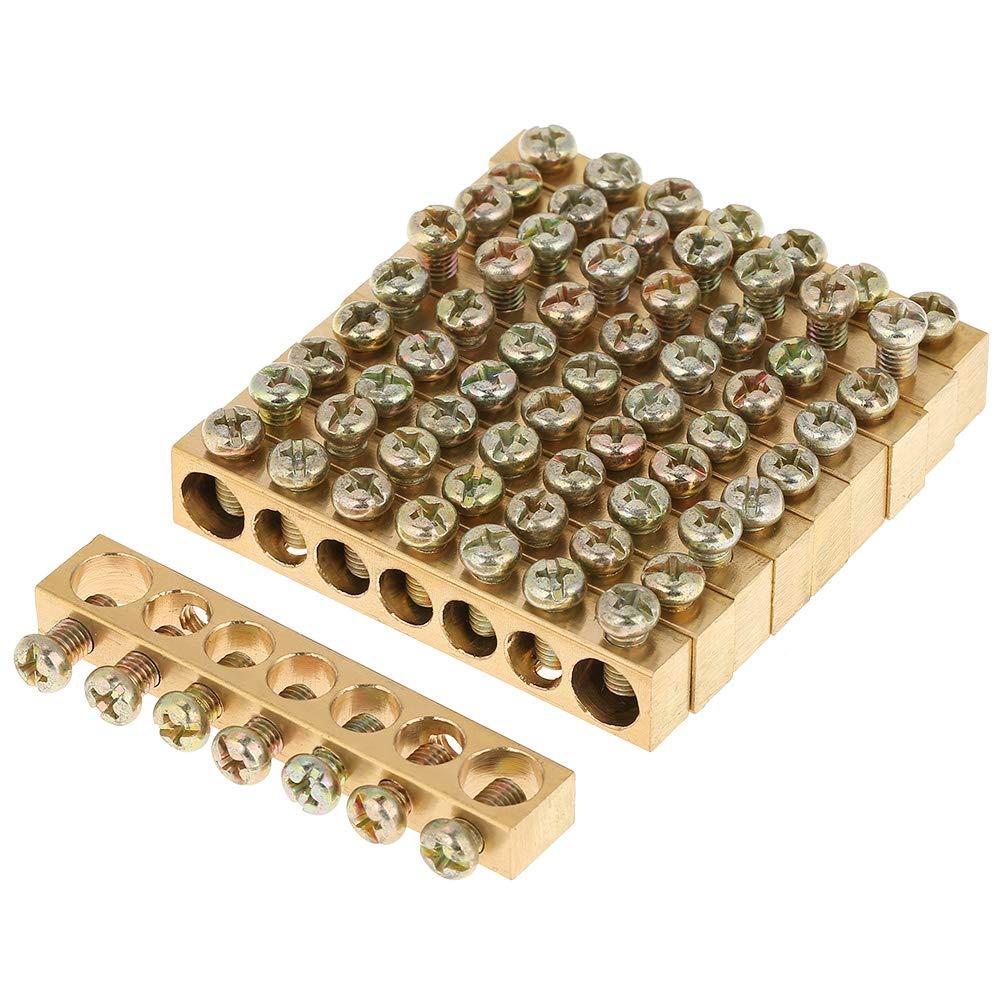 Barra de bloque de terminales 10pcs//set terminal de tornillo de cable de distribuci/ón el/éctrica de 7 agujeros Barra neutral de tierra de lat/ón kit de accesorios el/éctricos