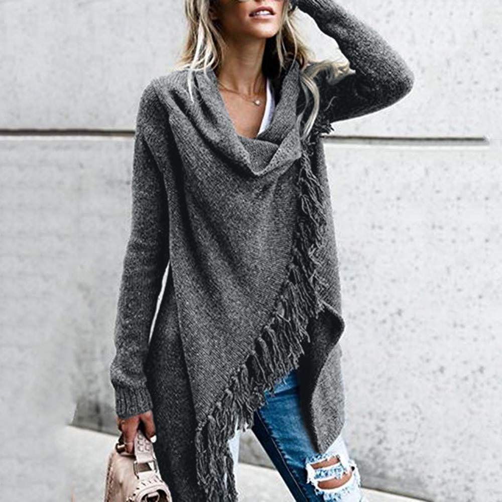 DaySeventh Women Stripes Poncho Fall Tassels Slash Gradient Shawl Hem Fringe Loose Sweater
