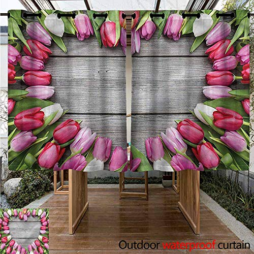 (Sunnyhome Outdoor Curtain Panel for Patio Love Frame of Fresh Tulips for Patio/Front Porch W 55