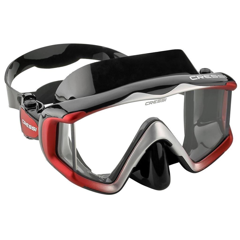 Cressi Liberty Triside SPE Diving Mask, Black/Black/Red