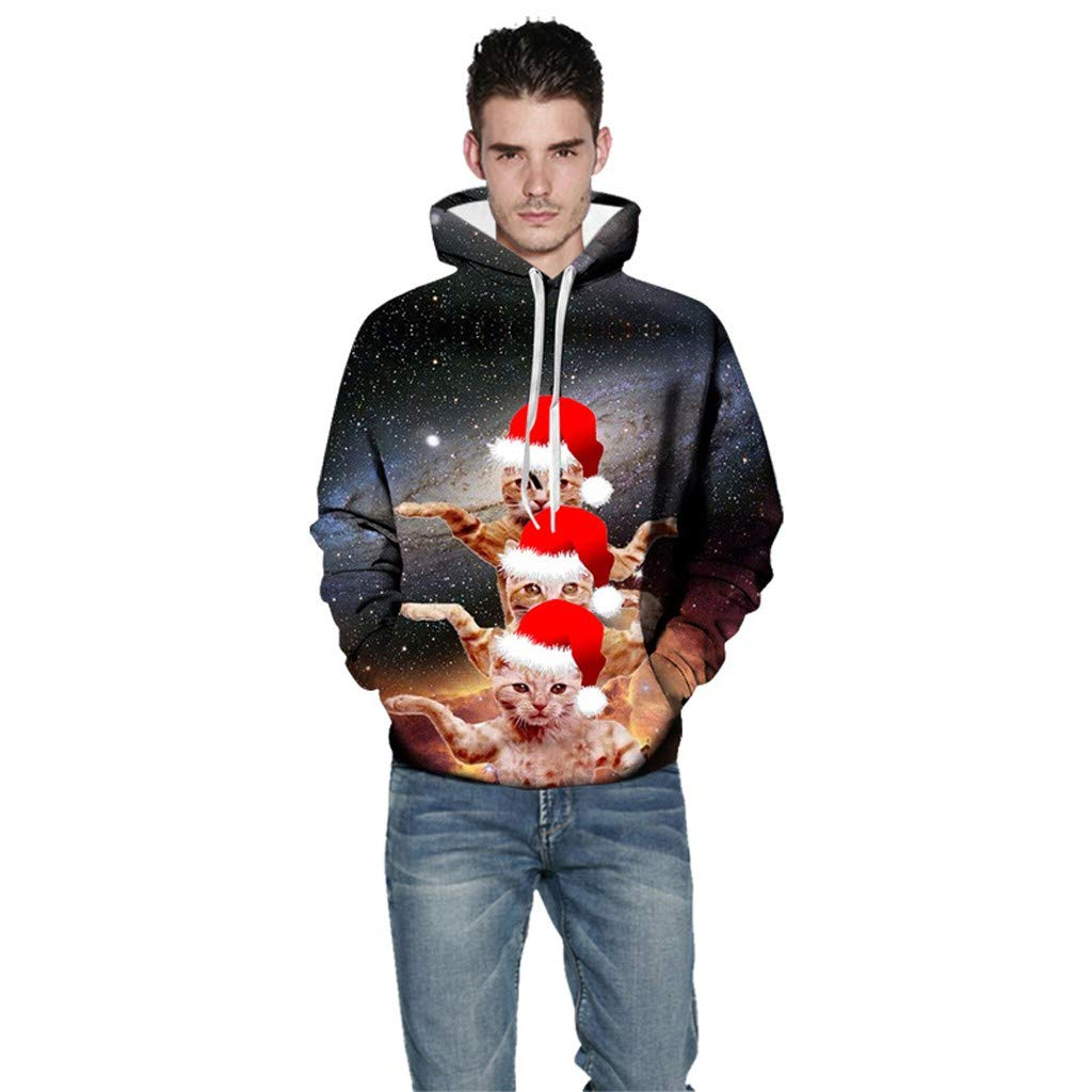Btruely Pullover Teenager Junge Pullover Herren Jacke Herren Mantel Herren Herren Pullover Pullover M/äDchen Pullover Mens Casual Weihnachten Funny 3D Print Party Langarm Hoodie Top Bluse Coat