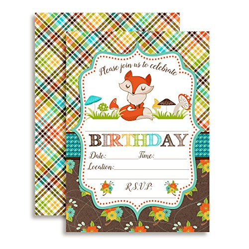 Fall Fox Birthday Party Invitations, 20 5