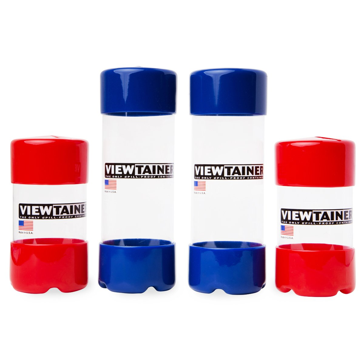 Viewtainer Slit-Top 4 pack - 2'' (Red/Blue) by Viewtainer
