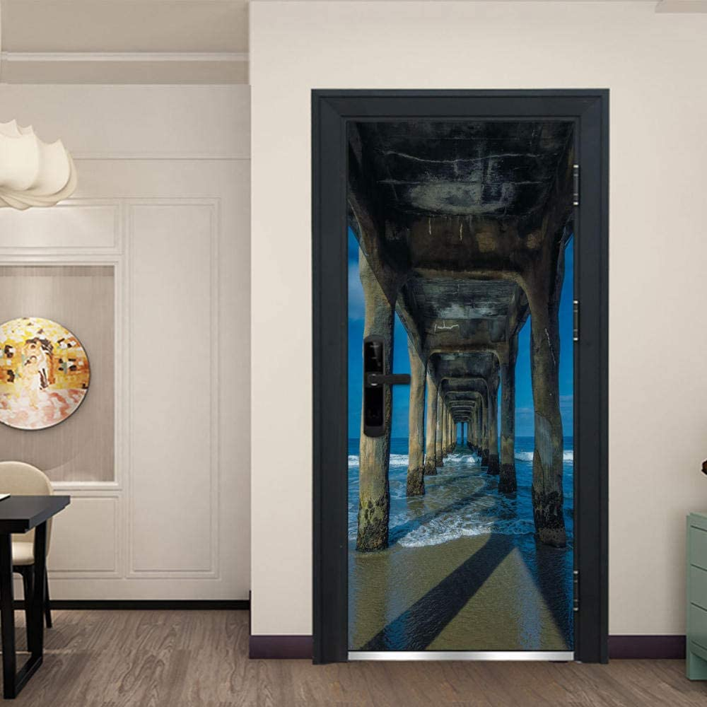 3d tridimensional puente paisaje puerta pegatinas hogar personalizado decoración pvc autoadhesivo impermeable pared calcomanías: Amazon.es: Bricolaje y herramientas