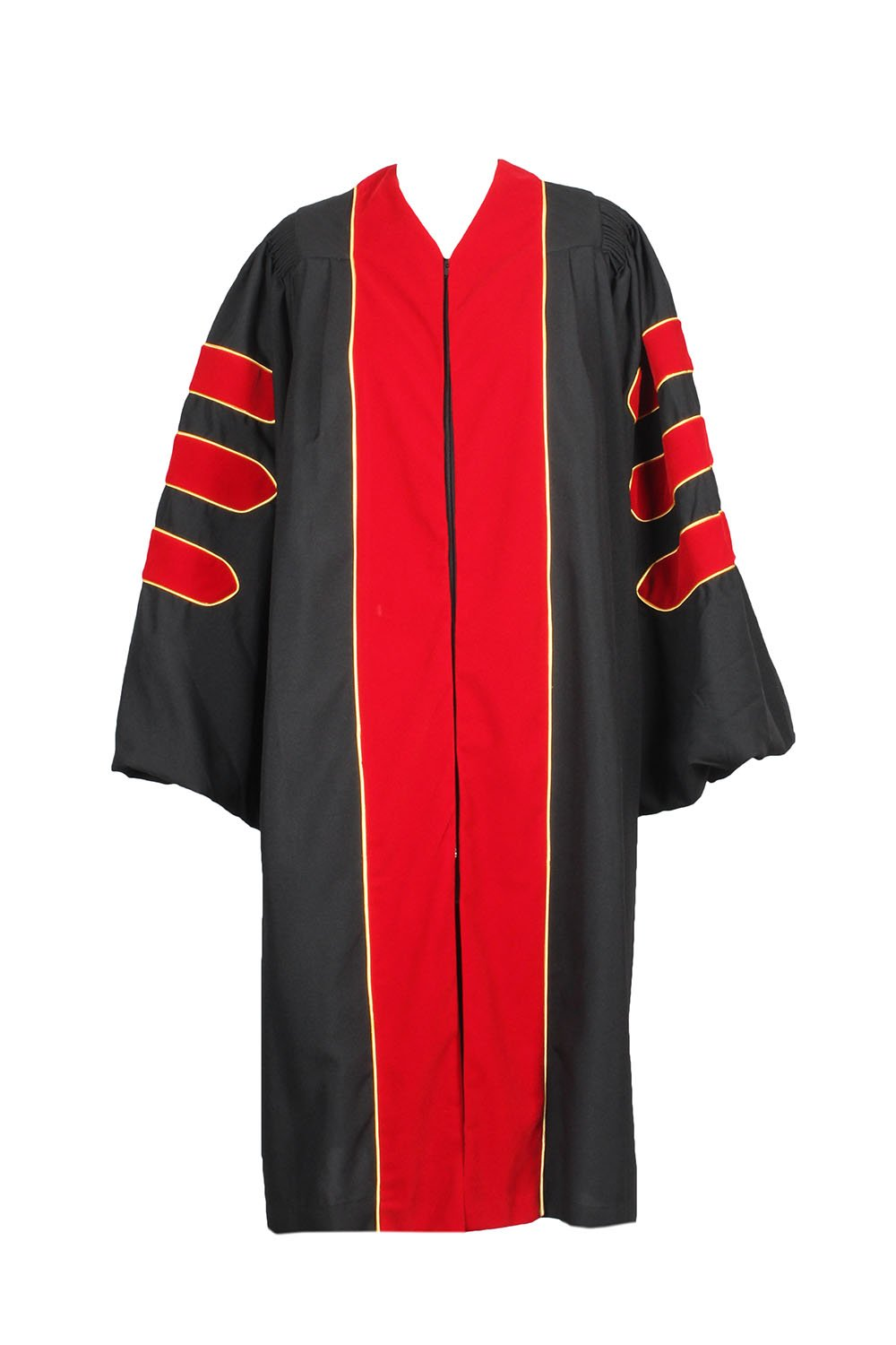 Gradplaza Unisex Deluxe Doctoral Graduation Gown With Velvet And Gold Piping