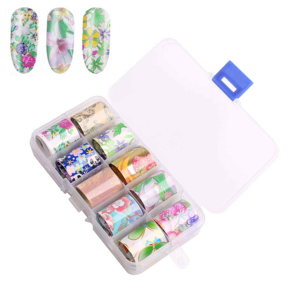 WOKOTO 10 rolls Starry Sky Nail Art transfer foil Stickers Sheets flower panda image Wraps Foil Transfer Adhesive decals for nail art(2.0inchs39.4inchs / 5cm100cm) Hengxing