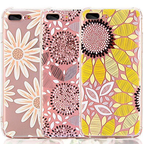 (iPhone 8 Plus Case, iPhone 7 Plus Case, [3-Pack] CarterLily Watercolor Flowers Floral Pattern Soft Clear Flexible TPU Back Case for iPhone 7 Plus iPhone 8 5.5'' - Sun Flowers)