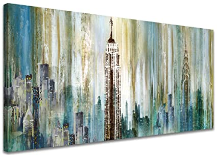 Large Abstract City View Painting Canvas Wall Art Decor New York The Empire State Building Landscape Picture Modern Artwork Decoration For Living Room
