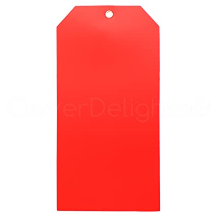 Amazon com : 25 Pack - CleverDelights Large Red Plastic Tags