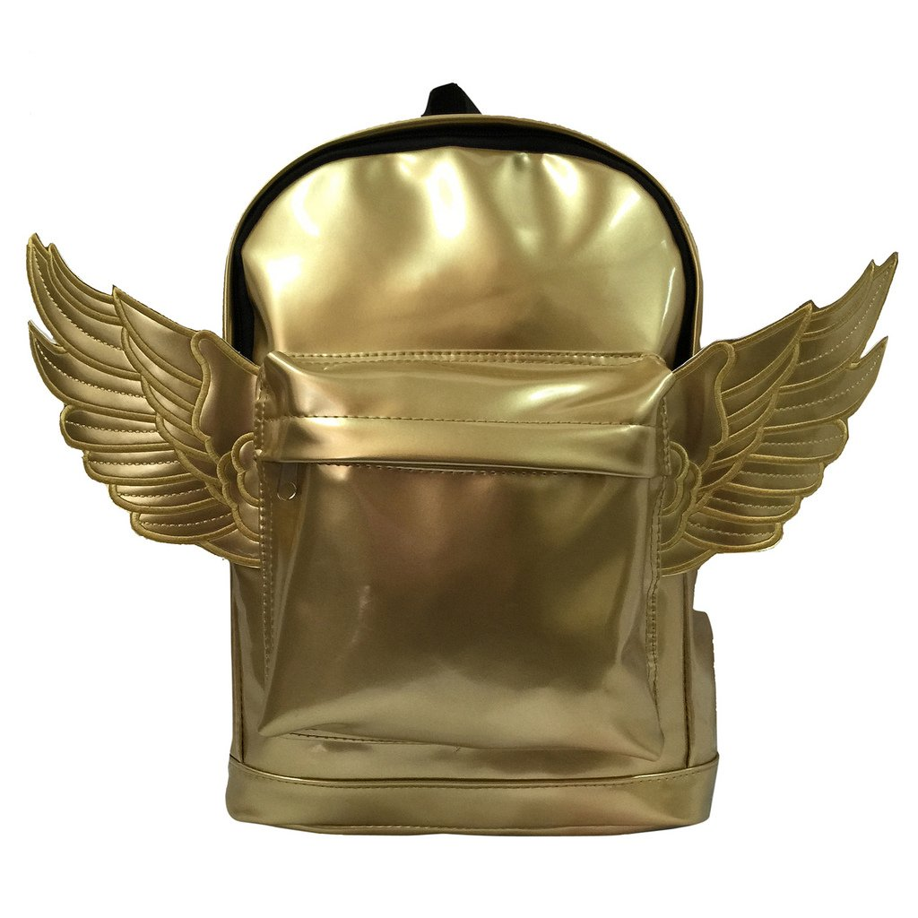 Kids Backpack Fashion Woman Mini Backpack Kindergarten Toddler Daypack Bag Lady Purse With Angel Wings Metallic Gold
