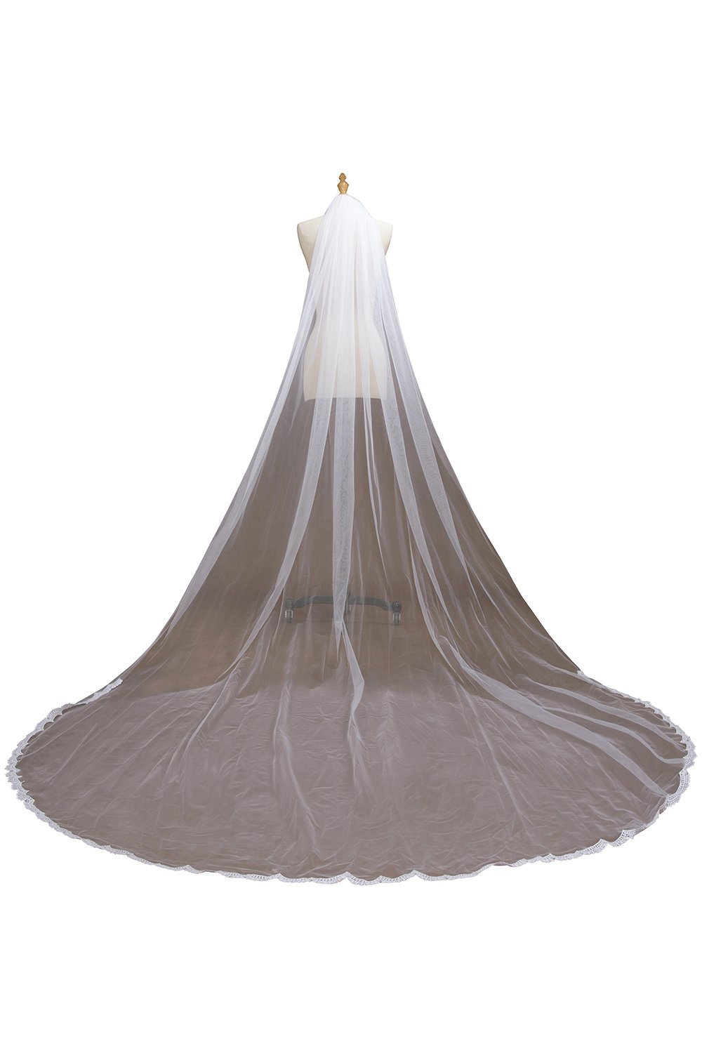 Women's 1 Tier Cathedral Lace Wedding Bridal Veil with Comb for Bride,Ivory