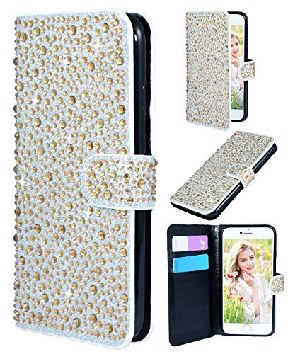 [iPhone 6/6s wallet case,FLYEE Bling Crystal 3D Raindrop Pattern Sparkly PU Wallet Protective Case with Magnetic Button Closure Perfect Fit for Apple iphone 6s 4.7 inch(gold)] (Raindrop Pattern Protective Case)