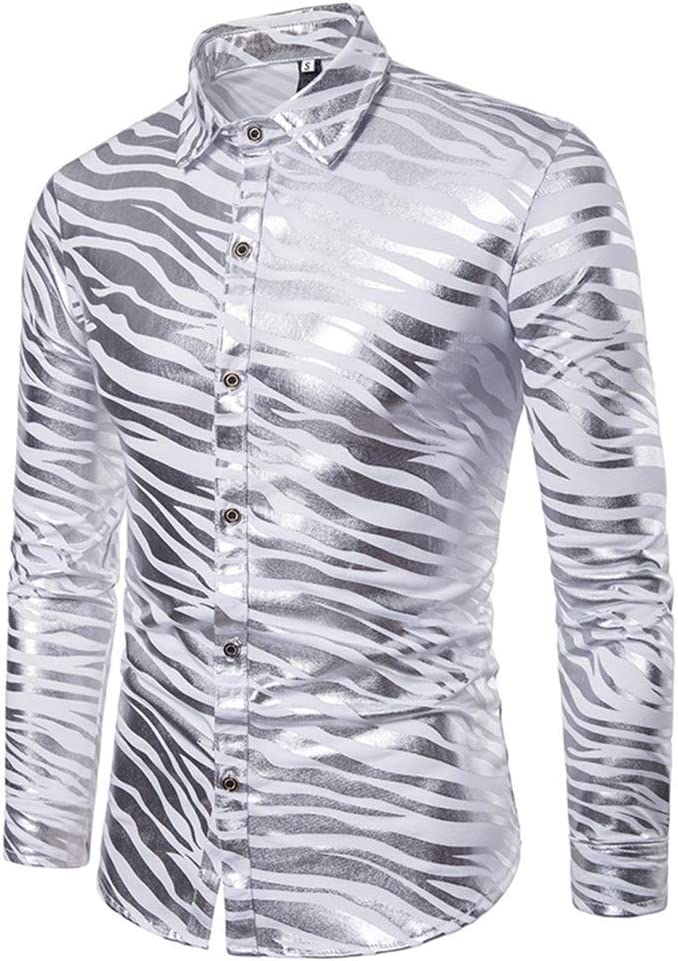 Rayas de cebra para hombres Color doble metálico brillante Discoteca Slim Fit Collar de solapa Camisa con botones de manga larga para fiesta disco Talla M L XL XXL 3XL (Color :