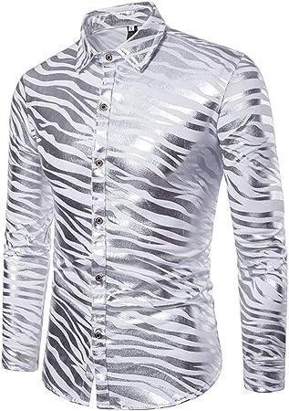 Camisa de hombre Rayas de cebra para hombres Color doble metálico brillante Discoteca Slim Fit Collar